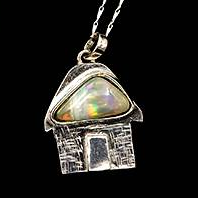 Caribbean cottage pendant with natural black opal