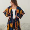 Tropical Printed Robe - DarkBlue&Coral