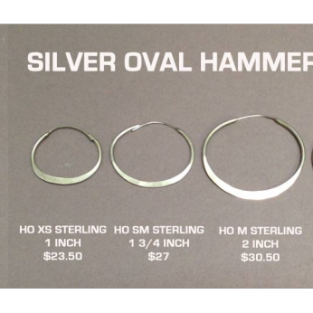Silver Oval Hammered Hoops