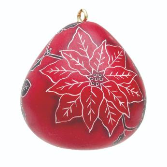 Poinsettia Mini Gourd Ornament