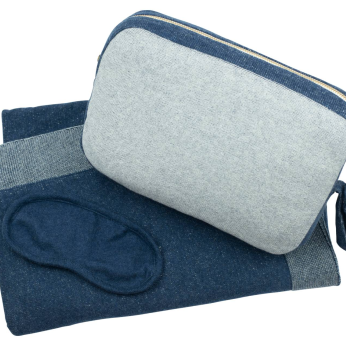 Adult Blanket with pouch and eye mask - Reversible Solid - Navy/Vanilla