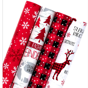 """WRAPAHOLIC OLD FASHION PRINTED WRAPPING PAPER BUNDLE - 30""""W X 10'L / ROLL - 4 ROLL BUNDLE"""