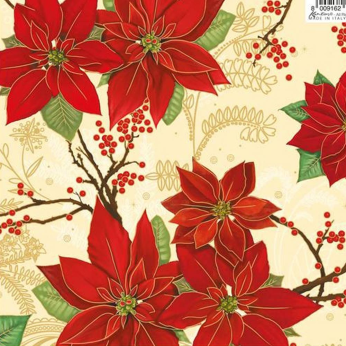 Poinsettia Flowers Wrapping Paper by KARTOS