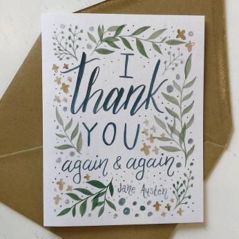 "Jane Austen ""Thank you..."" Greeting Card (blue)"
