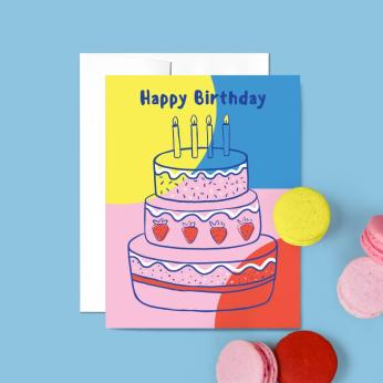 Colorblock Birthday Card