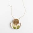 Botanical Half-Moon MD Elderberry Pendant with Gold Disk