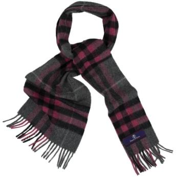 Prince of Scots Heritage Plaid Fringed Merino Wool Scarf (Cambridge Grey)