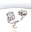 Baguette and Round Diamond Halo Ring