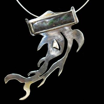 Hammer shark pendant with natural black opal