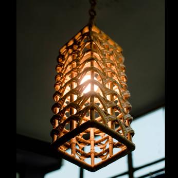 Rattan Rectangular Jaali Lamp Shade