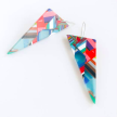 Poly-Resin Long Triangle Mosaic Earrings - Large