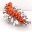 Carved Coral Pearl Brooch