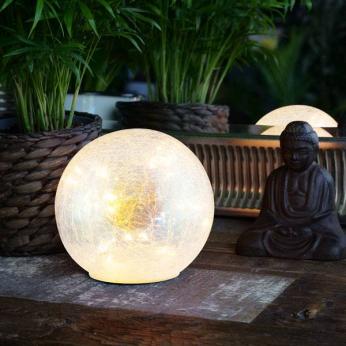 Faerie LED Crackle Glass Globe