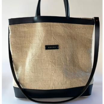 Hemp Black & White Tote Bag