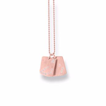 Capricorn LOVE YOU TAG 14K Pink Gold White Diamonds