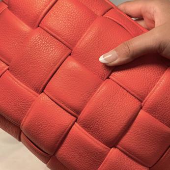 Koff Mini Woven Leather Accent Pillow  – Mandarin