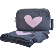 Adult Blanket with pouch and eye mask - Hearts Reversible - Dk grey/Light pink
