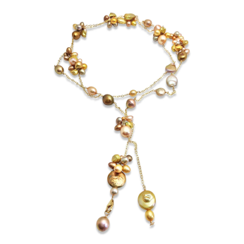 Bronze Pearl Textured Long Lariat Necklace