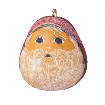 Santa Smile Mini Gourd Ornament
