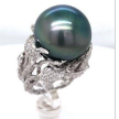 Black Tahitian Pearl Diamond Ring