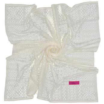 Southampton Home Lace Weave Baby Shawl ~ Ivory ~