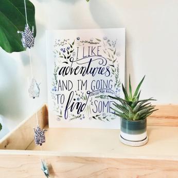 "Louisa May Alcott ""I like adventures..."" Art Print (blue)"