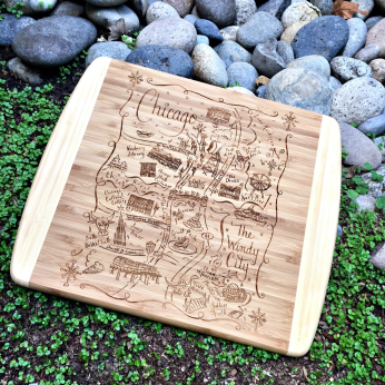 Illustrated Map Design Small Cutting/Cheese Board - Mid West United States
