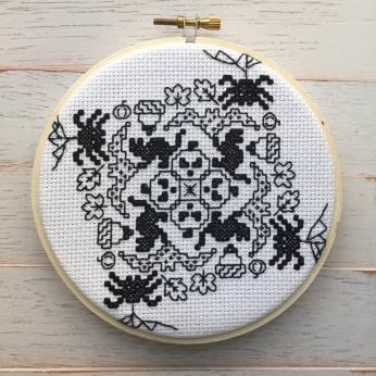 Blackwork Halloween Counted Cross Stitch DIY KIT