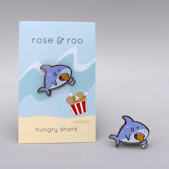 hungry shark enamel pin