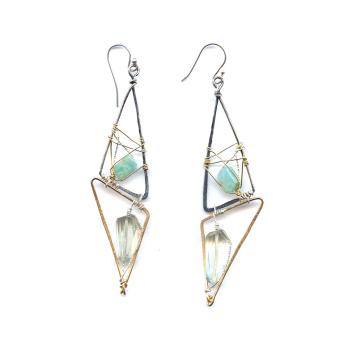 Amazonite and Green Amethyst Gemstone Earrings