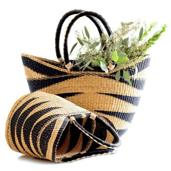Shopper Basket - Blue & Natural Color