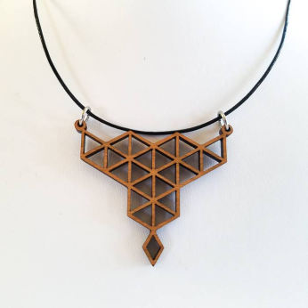Mosaic Necklace in cherry wood