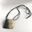 Up-Cycled Thermal Horn Minimalist Square Pendant