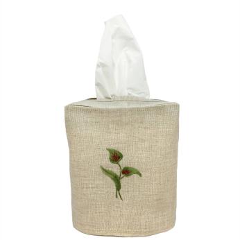 Flamingo Flower Linen Tissue Box Cover Natural