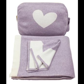 Hearts Blanket Set - Lavender - 100% Combed Cotton baby/toddler blanket Set - Crib blanket/Stroller blanket/Car blanket/Travel blanket/Park blanket