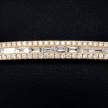 Yellow Gold Baguette and Round Diamond Bangle