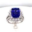 "Cushion-Cut Tanzanite Diamond ""Halo"" Ring"