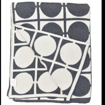 Daza - circles - grey/white/ivory - 100% Cotton throw blanket - knitted throw - couch throw