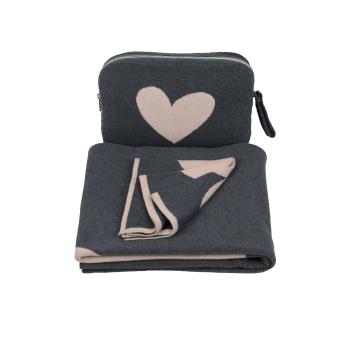 Hearts Blanket Set - Dark grey/Baby Pink  100% Combed Cotton baby/toddler blanket Set -  Crib blanket/Stroller blanket/Car blanket/Travel blanket/Park blanket