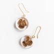 Botanical Full-Moon Dark Roast Coffee Bean Earrings- Small