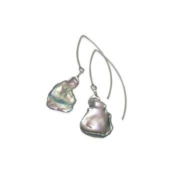 Platinum Grey Keshi Pearl Earrings