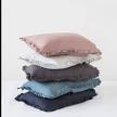 Ruffle trim linen pillowcase