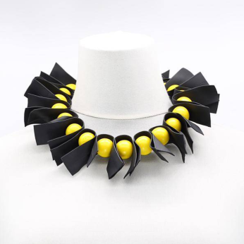 U-shaped Recycled Leatherette Ribbons & Round Beads Necklace