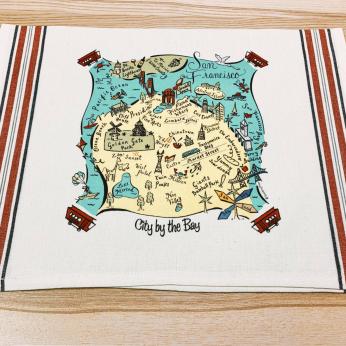 Illustrated Map Design Tea Towels - West Coast