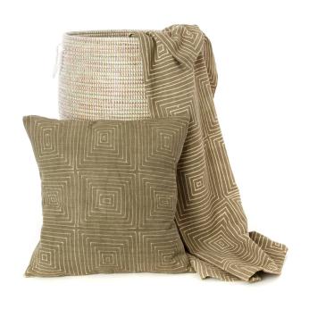 Gray Segou Squares Organic Cotton Mudcloth Pillow and Throw