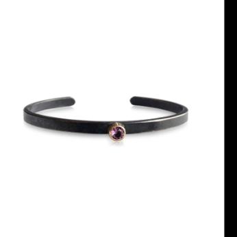 Oxidized Sterling Silver Cuff Bracelet w 14KT Gold Bezeled Gemstone