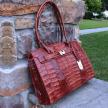 VINCENZA Crocodile Skin Handbag