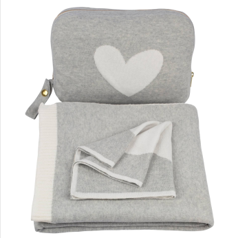 Hearts Blanket Set - Grey/Ivory  100% Combed Cotton baby/toddler blanket Set -  Crib blanket/Stroller blanket/Car blanket/Travel blanket/Park blanket