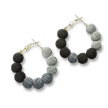 Small Black Mix Woven Ball Hoop Earrings