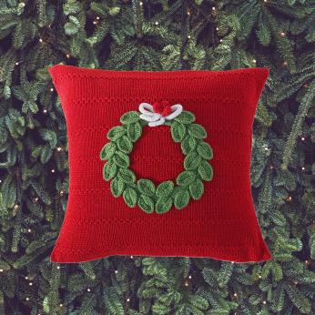 Green Wreath Pillow, Red